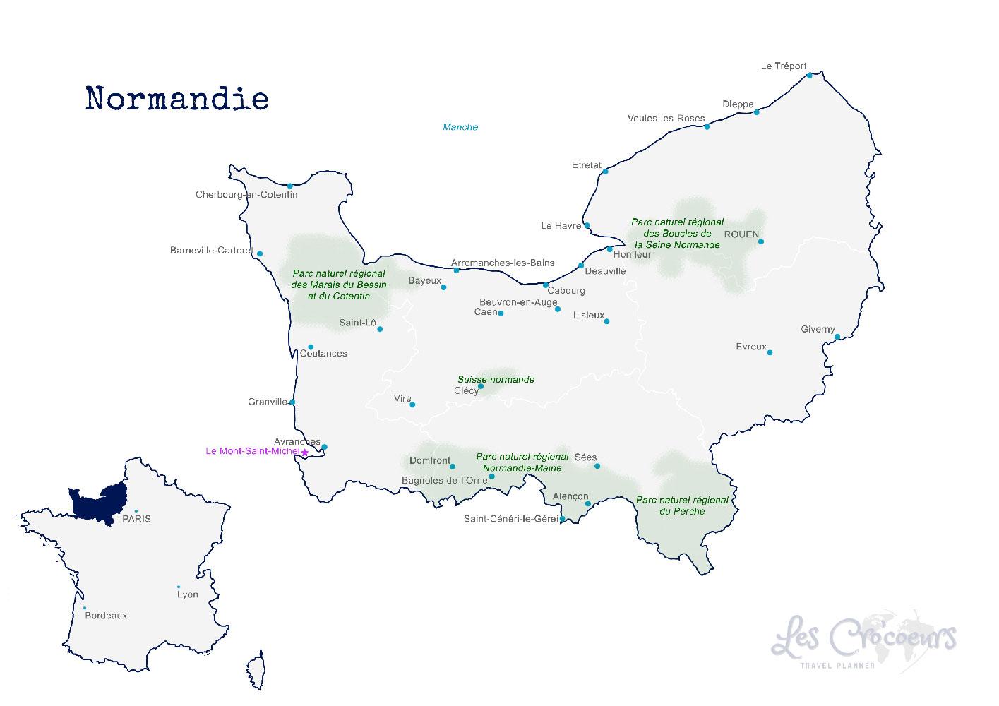 Carte Normandie - les Cro'coeurs Travel Planner & Blog Voyage