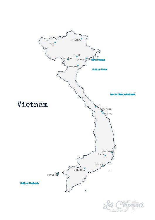 Carte Vietnam - Les Cro'coeurs Travel Planner & Blog Voyage